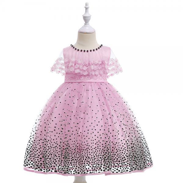 Princess Flower Girls Dress Lace Cape Polka Dot Formal Birthday Party Gown Children Clothes pink
