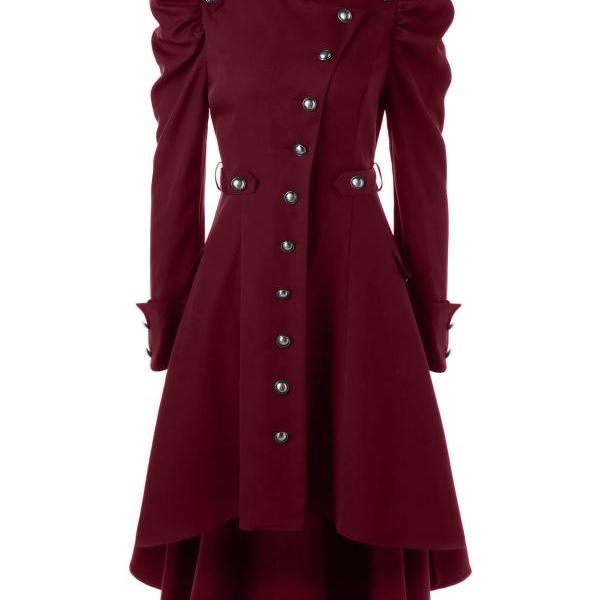 Women Asymmetric Coat Autumn Winter Stand Collar Long Sleeve Single-Breasted High Low Slim Jacket Outwear crimson