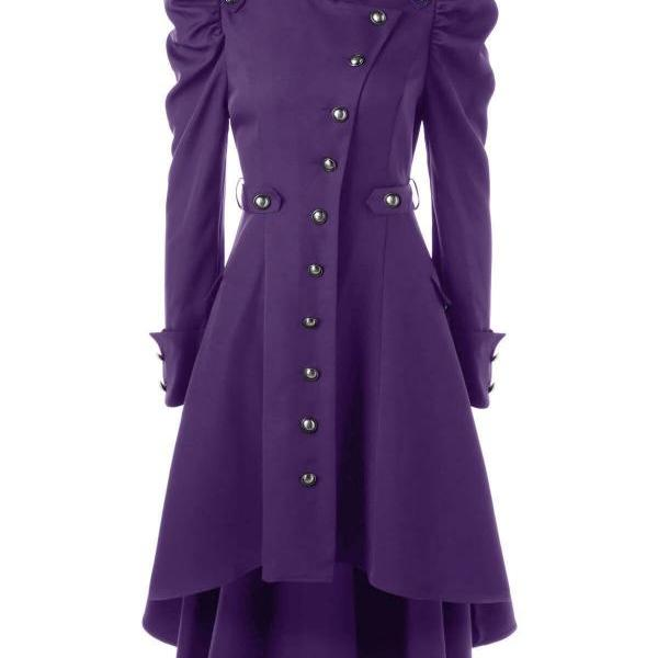 Women Asymmetric Coat Autumn Winter Stand Collar Long Sleeve Single-Breasted High Low Slim Jacket Outwear purple