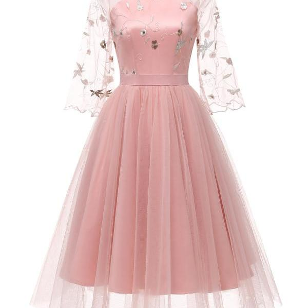 Women Casual Dress V Neck Flare Sleeve Tulle Embroidery Lace Slim A Line Formal Party Dress pink