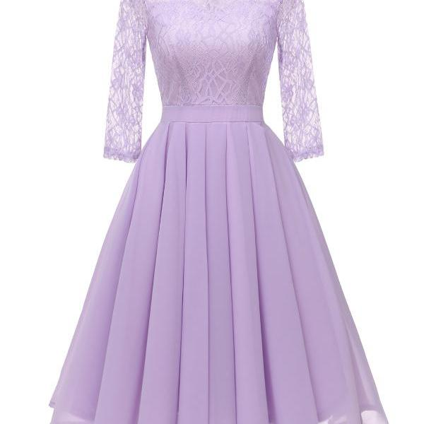 Women Casual Lace Patchwork Dress 3/4 Sleeve Work Office Slim A Line Bridesmaid Party Dress lilac