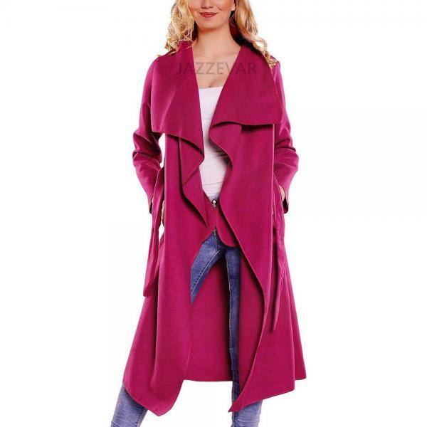 Women Wool Blend Trench Coat Autumn Winter Lapel Casual Long Sleeve Loose Cardigan Jacket Outerwear fuchsia