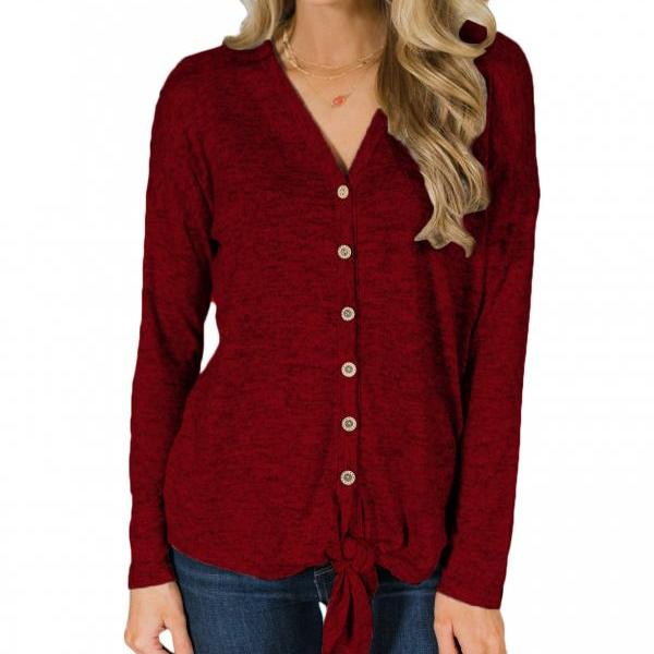 Women Knitting Coat Autumn V Neck Button Down Tops Long Sleeve Tie Knot Casual Thin Jacket crimson