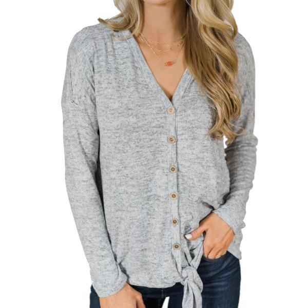 Women Knitting Coat Autumn V Neck Button Down Tops Long Sleeve Tie Knot Casual Thin Jacket gray