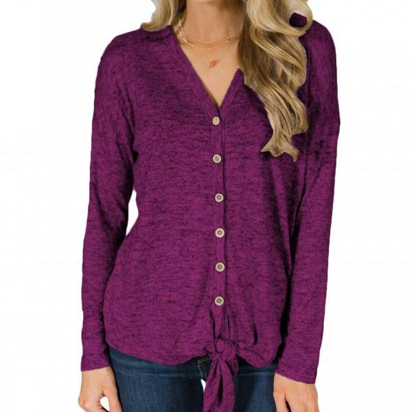 Women Knitting Coat Autumn V Neck Button Down Tops Long Sleeve Tie Knot Casual Thin Jacket purple