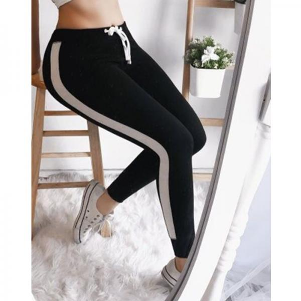 Women Striped Leggings Drawstring Elastic Waist Casual Workout Skinny Fitness Long Pants Sweatpants black