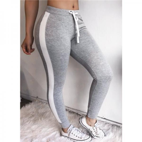 Women Striped Leggings Drawstring Elastic Waist Casual Workout Skinny Fitness Long Pants Sweatpants gray