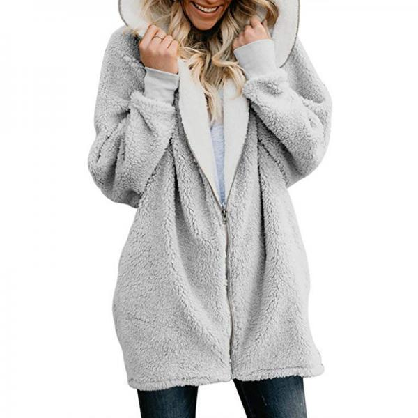 Women Plush Coat Autumn Winter Zipper Open Stitch Hooded Loose Long Sleeve Fleece Jacket Outerwear Overcoat gray
