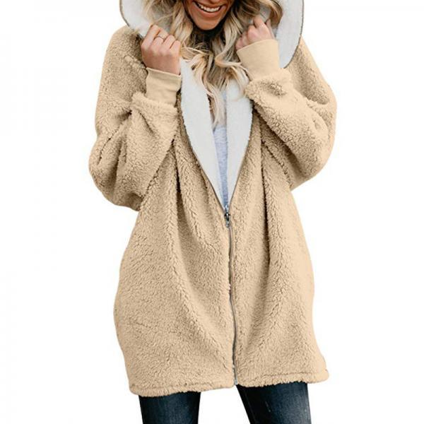 Women Plush Coat Autumn Winter Zipper Open Stitch Hooded Loose Long Sleeve Fleece Jacket Outerwear Overcoat khaki
