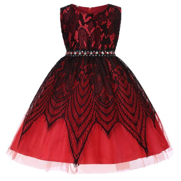 Lace Flower Girl Dress Sleeveless Kids Wedding Birthday Party Baptism Gown Children Clothes red
