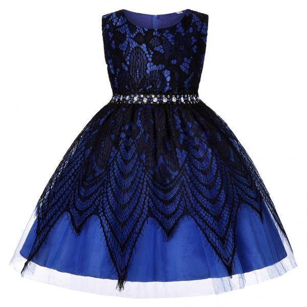 Lace Flower Girl Dress Sleeveless Kids Wedding Birthday Party Baptism Gown Children Clothes royal blue