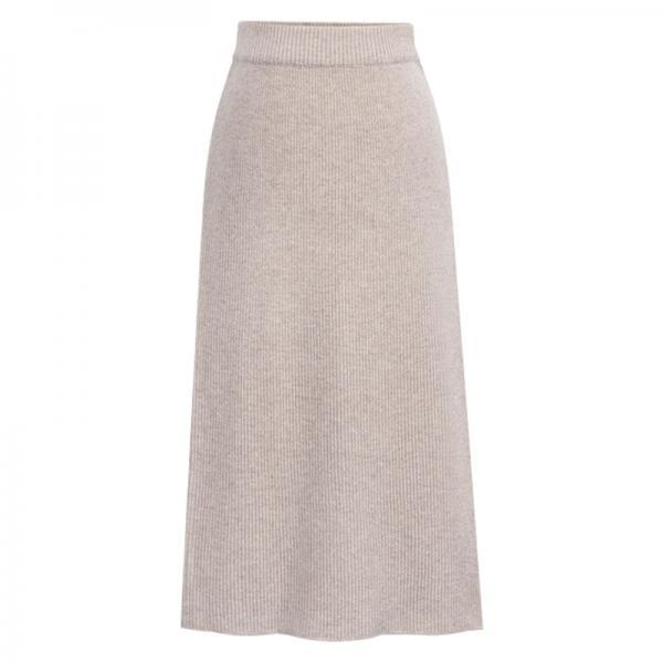 Women Knitted Pencil Skirt Autumn Winter High Waist Back Split Midi Package Hip Slim Bodycon Skirt apricot
