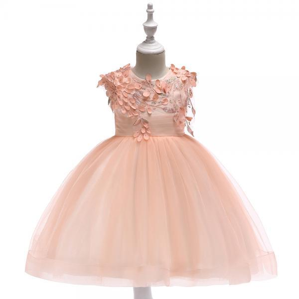 Princess Flower Girl Dress Sleeveless Wedding Party Birthday Tutu Gown Kids Children Clothes salmon