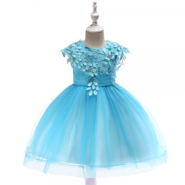 Princess Flower Girl Dress Sleeveless Wedding Party Birthday Tutu Gown Kids Children Clothes sky blue