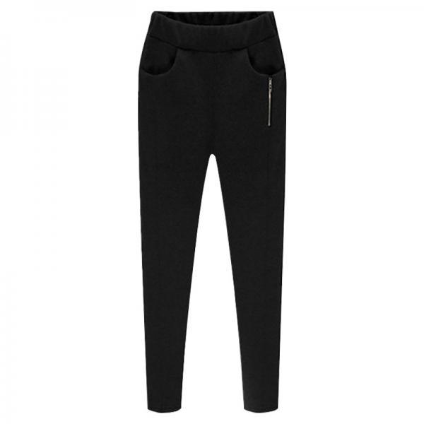 Women Harem Pants Plus Size High Waist Skinny Fleece Casual Warm Zipper Leggings Pencil Trousers black