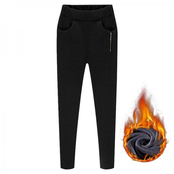 Women Harem Pants Plus Size High Waist Skinny Fleece Casual Warm Zipper Leggings Pencil Trousers black fleece