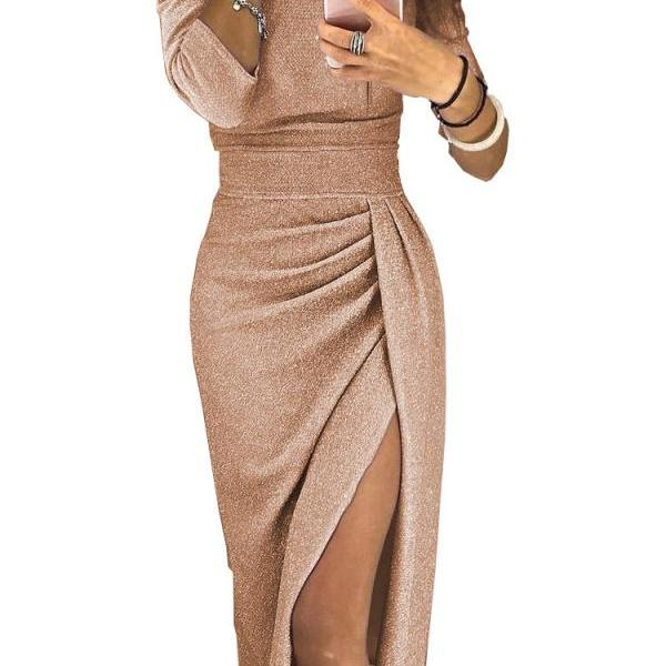 Women Pencil Dress Off the Shoulder Slash Neck 3/4 Sleeve Split Glittering Long Club Prom Party Dress champagne