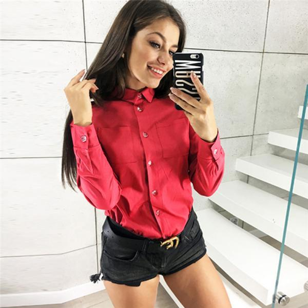 Women Shirt Button Turn-down Collar Long Sleeve Work Office OL Lady Casual Loose Blouse Tops red
