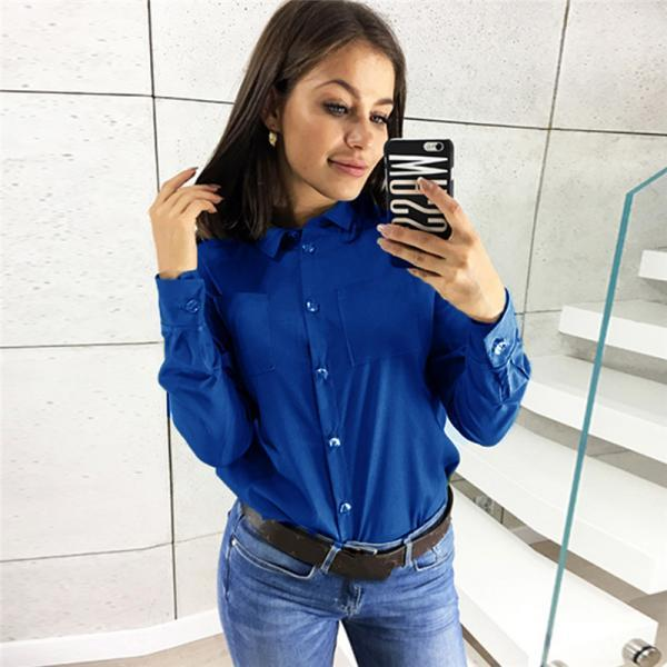Women Shirt Button Turn-down Collar Long Sleeve Work Office OL Lady Casual Loose Blouse Tops royal blue