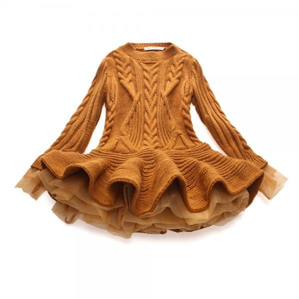 Baby Girl Sweater Dress Long Sleeve Autumn Winter Thick Warm Casual Party Knitted TuTu Dress Children Clothes brown