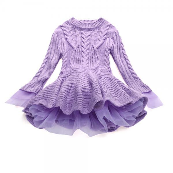 Baby Girl Sweater Dress Long Sleeve Autumn Winter Thick Warm Casual Party Knitted TuTu Dress Children Clothes lilac