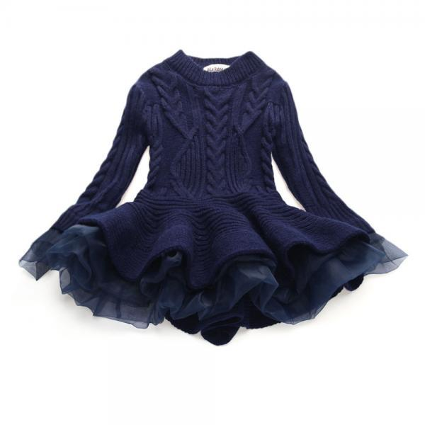 Baby Girl Sweater Dress Long Sleeve Autumn Winter Thick Warm Casual Party Knitted TuTu Dress Children Clothes navy blue