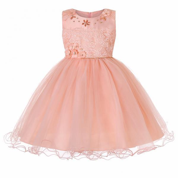 Princess Lace Flower Girl Dress Sleeveless Teens Wedding Formal Birthday Party Tutu Gown Children Clothes pink