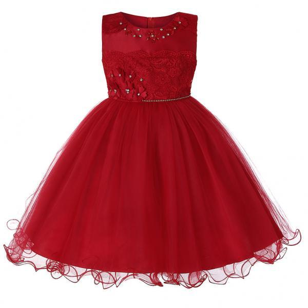 Princess Lace Flower Girl Dress Sleeveless Teens Wedding Formal Birthday Party Tutu Gown Children Clothes red