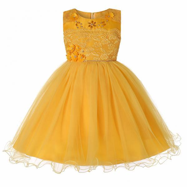 Princess Lace Flower Girl Dress Sleeveless Teens Wedding Formal Birthday Party Tutu Gown Children Clothes yellow