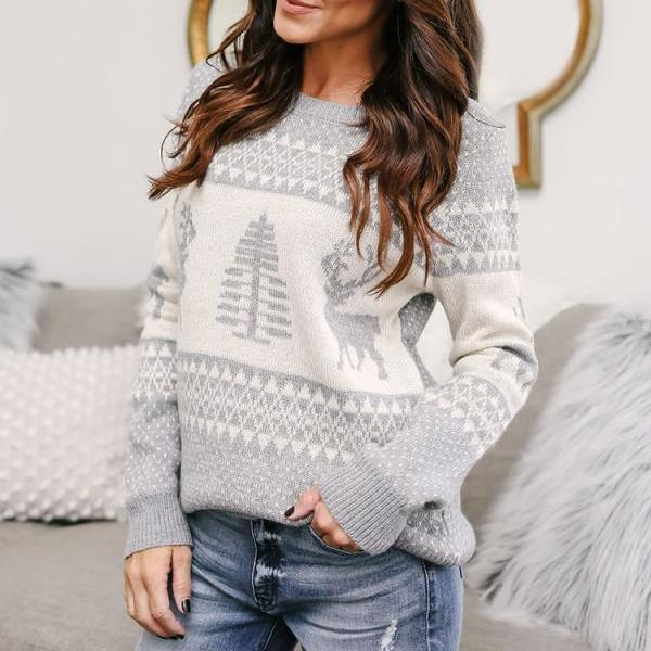 Women Knitted Sweater Christmas Deer Printed Autumn Winter Long Sleeve Casual Loose Pullover Tops gray