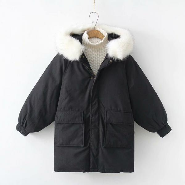 Women Parkas Coat Winter Warm Thick Long Sleeve Pockets Hooded Casual Loose Cotton Down Jacket black