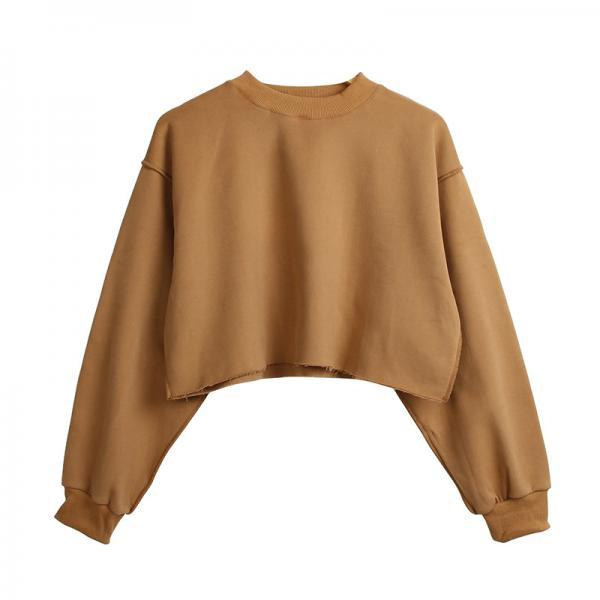 Women Crop Tops Autumn Winter Long Sleeve Pullover Casual Loose Short Fleece Sweatshirt brown
