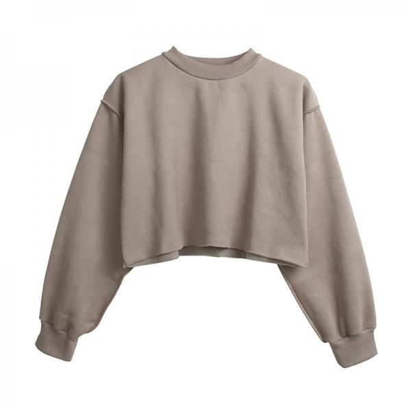 Women Crop Tops Autumn Winter Long Sleeve Pullover Casual Loose Short Fleece Sweatshirt gray