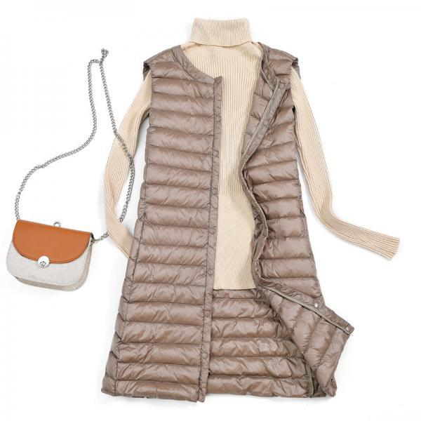 Women Ultra Light Vest Coat Autumn Winter Warm Slim Long Waistcoat Duck Down Sleeveless Jacket khaki