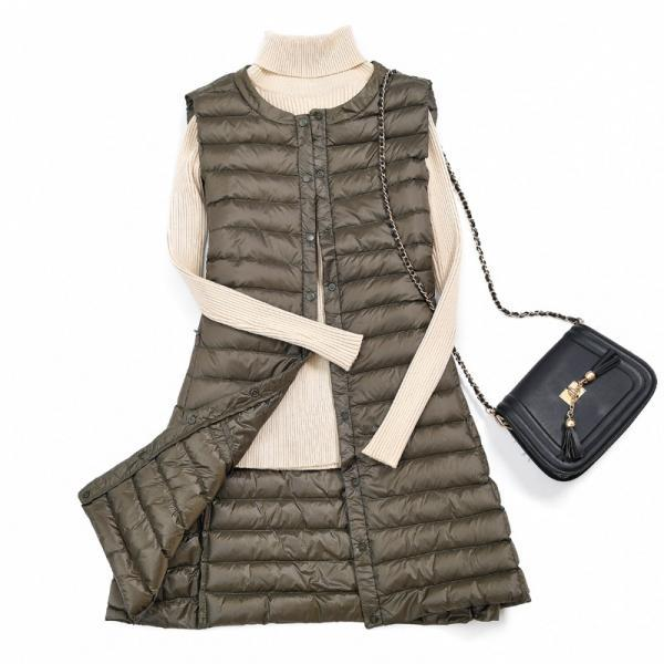 Women Ultra Light Vest Coat Autumn Winter Warm Slim Long Waistcoat Duck Down Sleeveless Jacket army green