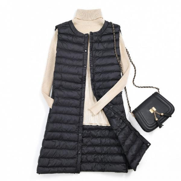 Women Ultra Light Vest Coat Autumn Winter Warm Slim Long Waistcoat Duck Down Sleeveless Jacket black