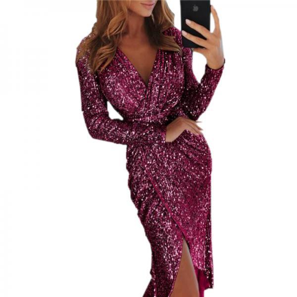 Women Sequined Dress V Neck High Split Long Sleeve Asymmetrical Bodycon Sexy Night Club Party Dress purple