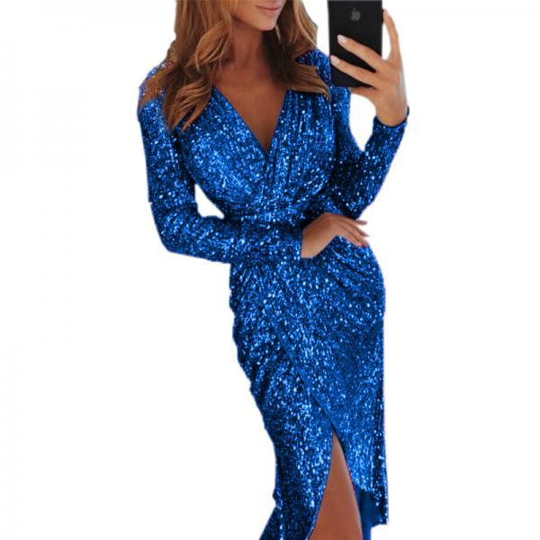 Women Sequined Dress V Neck High Split Long Sleeve Asymmetrical Bodycon Sexy Night Club Party Dress royal blue