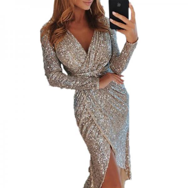 Women Sequined Dress V Neck High Split Long Sleeve Asymmetrical Bodycon Sexy Night Club Party Dress silver