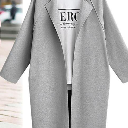 Women Trench Coat Autumn Turn-down Collar Long Sleeve Streetwear Casual Cardigan Jacket Overcoat gray