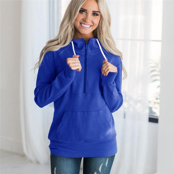 Womens Hoodies Autumn Winter Casual Zipper Hooded Pockets Sweatshirt Pullover Tops blue