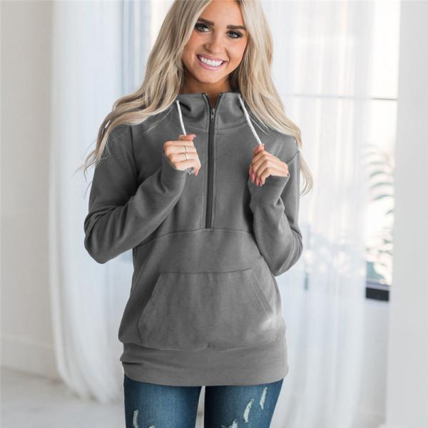 Womens Hoodies Autumn Winter Casual Zipper Hooded Pockets Sweatshirt Pullover Tops gray