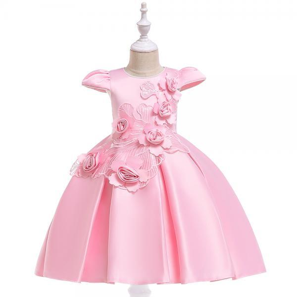 Satin Flower Girl Dress Cap Sleeve Floral Kids Birthday Formal Party Prom Gown Children Clothes pink