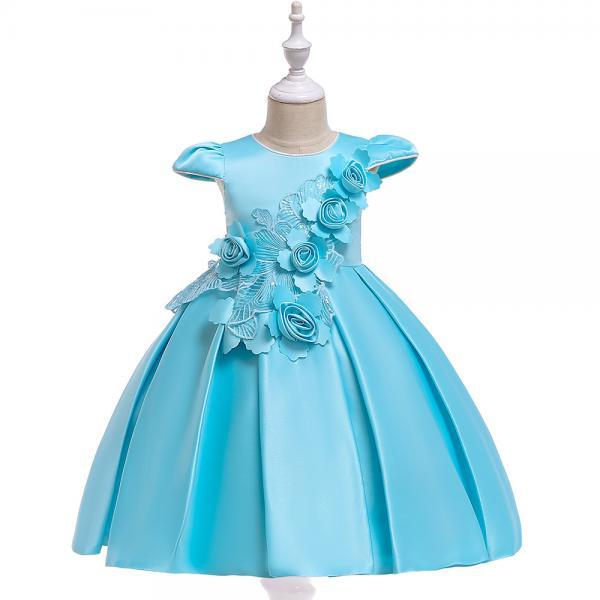 Satin Flower Girl Dress Cap Sleeve Floral Kids Birthday Formal Party Prom Gown Children Clothes sky blue