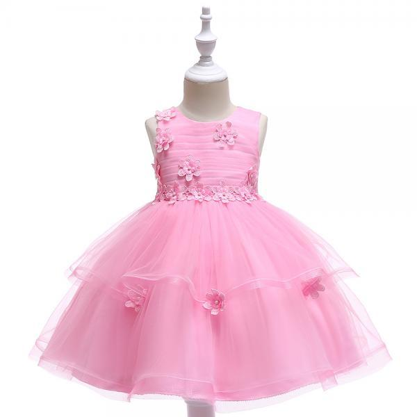 Lace Flower Girl Dress Sleeveless Wedding Formal Birthday Party Tutu Gown Children Clothes pink