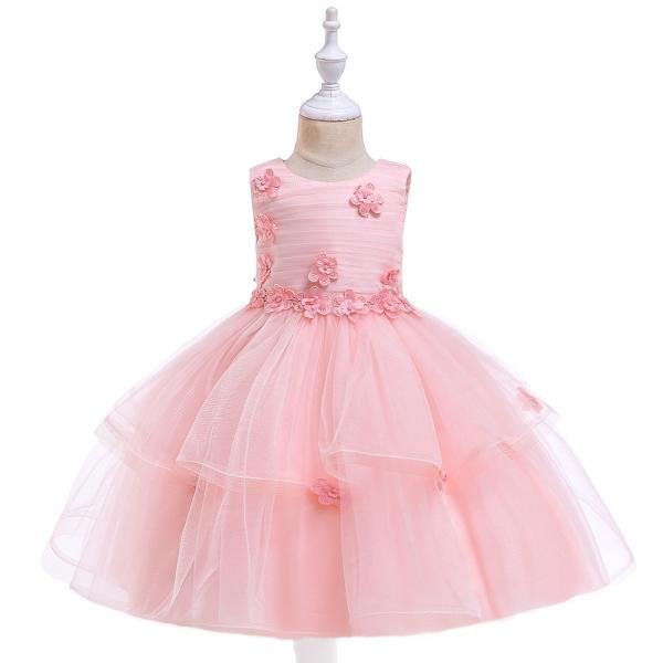 Lace Flower Girl Dress Sleeveless Wedding Formal Birthday Party Tutu Gown Children Clothes salmon