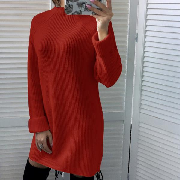 Women Sweater Dress Autumn Winter Turtleneck Long Sleeve Knitted Casual Mini Dress red