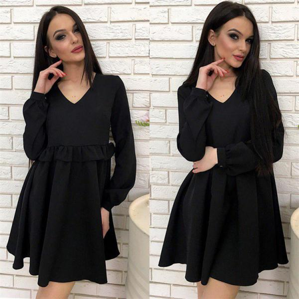 Women Casual Dress Autumn V Neck Long Sleeve Solid Ruffle Mini Club Party Dress black