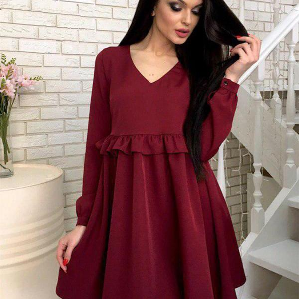 Women Casual Dress Autumn V Neck Long Sleeve Solid Ruffle Mini Club Party Dress wine red