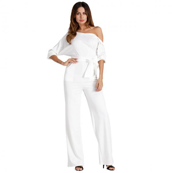Women Jumpsuit Off the Shoulder Half Sleeve Plus Size Belted Wide Leg Rompers Overalls off white